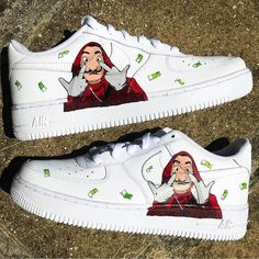 Behind The Scenes By customised_culture White Nike Shoes, Nike Air Shoes, Sneakers Nike, Nike Air Force, Custom Sneakers, Custom Shoes, Custom Painted Shoes, Souliers Nike, Zapatos Nike Air