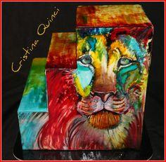 Colorful lion cake
