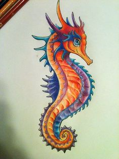 Seahorse Tattoo Design - Prismacolor and Ink Copyright 2012 Jane ...