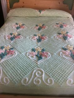 Light Green Waffled Floral Chenille 100 x 87 Crochet Bedspread, Chenille Bedspread, Pale Pink Bedrooms, Vintage Bedspread, Shabby Chic Pink, Pink Petals, Awesome Bedrooms, Bed Covers, Bed Spreads