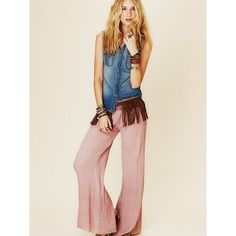 Free People FP ONE Solid Gauze Hippie Pant ($98) ❤ liked on Polyvore
