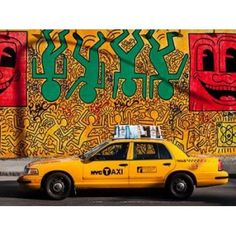 Taxi and mural painting NYC Canvas Art - Michel Setboun (22 x 28)