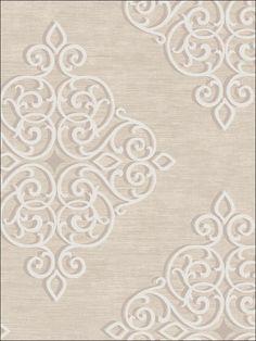 Medallion Wallpaper By Seabrook Wallpaper - Diy Crafts - moonfer Go Wallpaper, Damask Wallpaper, Pattern Wallpaper, Transitional Wallpaper, Diy Crafts Vintage, Embossed Fabric, Wall Stencil Patterns, Crafts Beautiful, Patterns