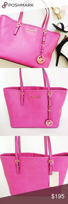 """Michael Kors Leather Jet Set Tote Bag Michael Kors Jet Set Tote Bag in pink saffiano leather featuring gold tone hardware.  Carry everything without the bulk!  NWT, never worn!  Dustbag included.  Last pic stock photo (different color), used to show fit.  •  BUNDLE with accessories to SAVE and GET THE LOOK!  •  Measurements: 9"""" H x 15"""" W x 5.75"""" D Handle drop: 7.5"""" Michael Kors Bags"""