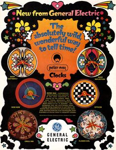 Peter Max Psychedelic Clocks Flower Girl Daisy Reflection Opticon 1969 GE Ad | eBay