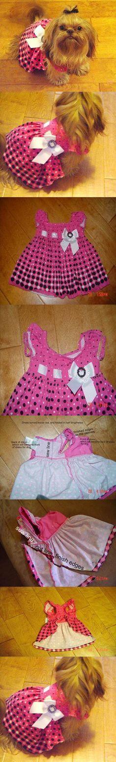DIY Dog Dress from Baby Dress #dogdiyclothes