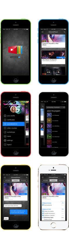 Eduweb Player iOS 7 app by Michal Galubinski, via Behance