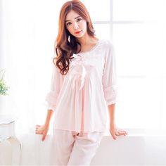 Bow Princess Women s pink white Pajamas Pants Set Lace Decoration Sleepwear  pijamas femininos verao D59 Pink 31ffaf6fa