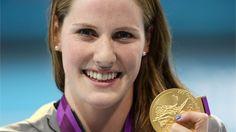 Missy Franklin of the #USA celebrates gold. #olympics #waywire
