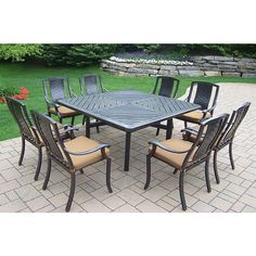 Madison Outdoor Aluminum 9 Pc Dining Set 64 Square Dining Table