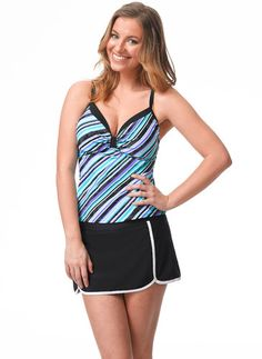 Flaunt this chic feminine sweetheart tankini on the beach or at the pool. This stripe print with a contrast trim will make you love the way you look in it. Women's Swimwear, Tankini Top, Mix N Match, Stripe Print, Cabana, Skater Skirt, Contrast, That Look, Feminine