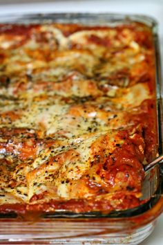 Julie's Cheesy Lasagna - uses no-boil noodles! Easy weeknight meal. Can freeze for later!