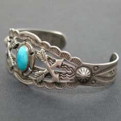 Fred Harvey Era Turquoise Sterling Cuff by emdragonflyantiques