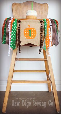 PUMPKIN Birthday High Chair Highchair Banner by RawEdgeSewingCo