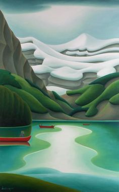 Red Canoes, by Dana Irving Watercolor Landscape, Landscape Art, Landscape Paintings, Landscapes, Lake Art, Canadian Artists, Naive, Beautiful Paintings, Art Techniques