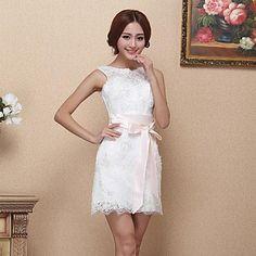 Homecoming Dress A-line Bateau Short/Mini Lace Dress – USD $ 119.99