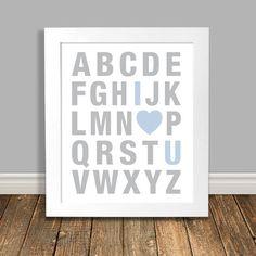 New to HappyHippoArts on Etsy: Alphabet Nursery Art I Love You Art Word Art Print Grey and Blue Nursery Art Printable Art Digital Download - 8x10 11x14 (6.75 CAD)