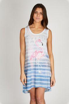 Jurk los blauw #spring #dress #flamingo #ibizastyle
