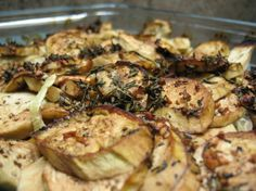 Roasted Rosemary Zucchini & Eggplant  1 lg eggplant 3 med squash, (~5-6 c combo of yellow squash & zucchini) 1⁄2 c thinly sliced onion 3 garlic cloves, minced 2 tblsp olive oil 1⁄4 c balsamic vinegar 1 tsp sugar 3⁄4 tsp kosher salt 1⁄2 tsp pepper 5 sprigs fresh rosemary  Place all ingredients and toss to coat well.  baking dish at 450°F for 25-30 min. Or foil pan on grill and grill for approx 20-25 minutes.