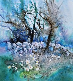 Daffodils Dream of Evening « Ann Blockley Watercolor Paintings Abstract, Watercolor Trees, Watercolor Artists, Watercolor Landscape, Watercolor Illustration, Abstract Landscape, Landscape Paintings, Watercolor And Ink, Watercolor Portraits