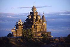 The old wooden church on Kishi island, Russia