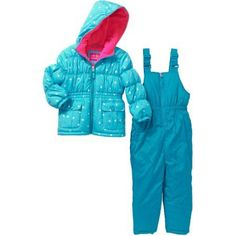 Pink Platinum Girls' Star Print Top and Solid Bottom Snowsuit with Pockets, Size: 4, Blue
