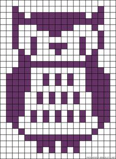 Owl perler bead pattern Owl Patterns, Alpha Patterns, Perler Patterns, Beading Patterns, Perler Beads, Fuse Beads, Knitting Charts, Knitting Patterns, Baby Knitting