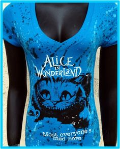 Buy DiY Alice in Wonderland Top Cheshire Cat Tim Burton You choose the size at Wish - Shopping Made Fun Cheshire Cat Tim Burton, Alice In Wonderland Gifts, Alice Book, Plus Size Shirts, Disney Outfits, Disney Clothes, Shirt Style, Cool Outfits, Cats