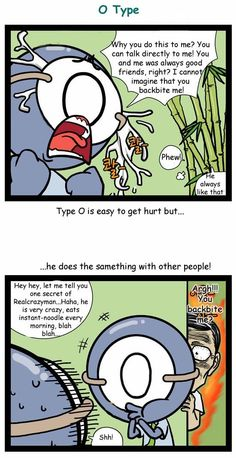 RealCrazyMan's Blood Types Comic: When they get backbitten - O type