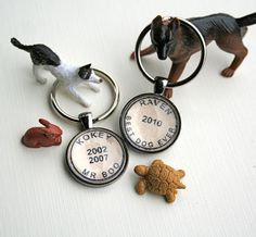 Pet lovers!  Custom postmark pet name keychains - you know you have the best pet ever!  by CrowBiz on Etsy