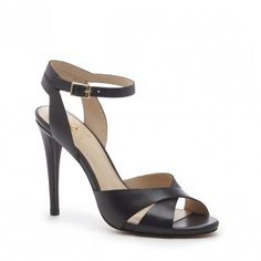 Strappy black leather stiletto heel with a crisscross open toe