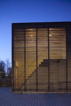 Wooden Screen Facade at night