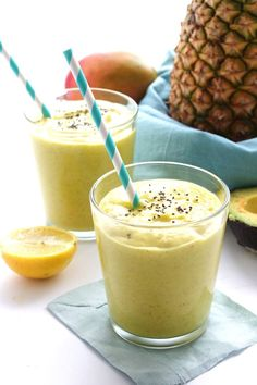 Looking for a refreshing smoothie recipe that serves two people? This Pineapple Avocado Smoothie for Two recipe is just that!