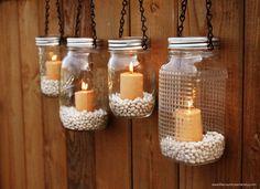 Mason Jar Lanterns Hanging Tea Light by TheCountryBarrel on Etsy.... New project!!!
