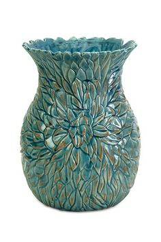 Small Lotus Leaves Turquoise Vase by Imax on @HauteLook