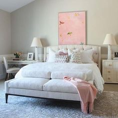 Striped Sofa - Transitional - bedroom - Alice Lane Home Bedroom Desk, Bedroom Dressers, Home Bedroom, Bedroom Furniture, Desk Bed, Gray Bedroom, Furniture Makeover, Murphy Bed Ikea, Murphy Bed Plans