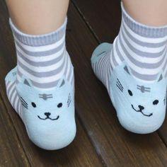 Striped Cat Footprints Socks