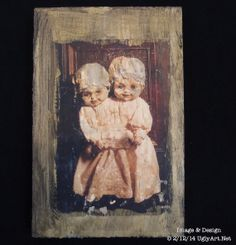 Conjoined Twins Collage on Wood by Ugly Shyla by uglyartdotnet, $15.00  Art ,Collage, Surreal ,ugly shyla art ,uglyshyla dolls, wood art print, art print on wood ,doll art, ready to hang ,victorian, framed art ,gothic doll , gold, inexpensive art gift ,louisiana austin