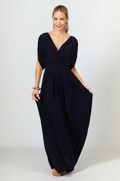 Batwing Long Maxi Dress - Navy
