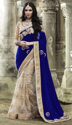 USD 196.44 Royal Blue Velvet Half and Half Wedding Saree 47362