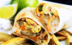 CALIFORNIA BREAKFAST BURRITO WITH CREAMY SALSA (AND FRENCH FRIES)