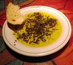Carabbas Italian spices and oil. It is SOOOO delicious, glad I can make it at home now! Dip warm bread in it, or sprinkle the spices on pasta, pizza, and much more!