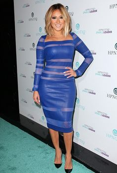 Catherine Malandrino Blue Leather Sheer Inset Dress. (Worn by: Adrienne Bailon)