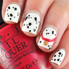 Instagram photo by everylittlepolish  #nail #nails #nailart  ((Cute for a little girls nails, Disneys One Hundred One Dalmations)