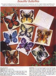 8 Butterfly Coasters and Matching Box Vintage Plastic Canvas Patterns Craft Booklet Leisure Arts 1311 Plastic Canvas Books, Plastic Canvas Coasters, Plastic Canvas Tissue Boxes, Plastic Canvas Christmas, Plastic Canvas Crafts, Plastic Canvas Patterns, Butterfly Cross Stitch, Butterfly Pattern, Maya