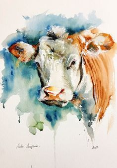 Blue Cow Contemporary Watercolor Abstract Farm Animal Kitchen ART Print by DJR