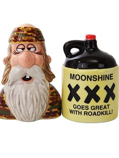 """""""Moonshine"""" Salt and Pepper Set by Pacific Trading #InkedShop #moonshine #salt #pepper #shakers #cute"""
