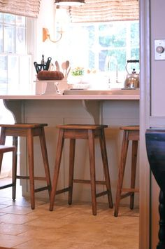 I am in the market for new counter stools....love these...but they'll make me want to get a new table and chairs, too! Restoration Hardware Oak Counter Stools   Simple   Farmhouse   Reclaimed wood look-alike -