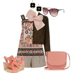 Blush and Brown Floral Stripes (outfit only)
