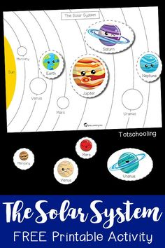 The Solar System Printable Activity is part of Space preschool - FREE printable space activity for preschoolers to learn about planets and the solar system Make learning fun with this science activity perfect for a space theme! Planets Preschool, Planets Activities, Solar System Activities, Space Theme Preschool, Solar System Crafts, Free Preschool, Science Activities, Toddler Preschool, Kindergarten Science